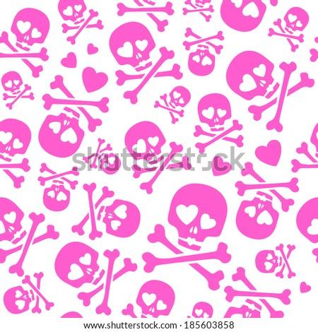 Funny skulls in love - seamless pink pattern. Good for Valentine's Day design. Raster version. - stock photo