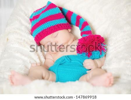 Funny sleeping infant - stock photo