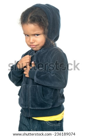 Funny small african american girl wearing a hood isolated on white - stock photo