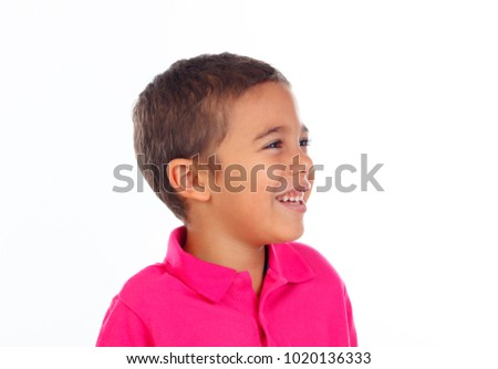 Funny small child with dark hair and black eyes isolated on a white background