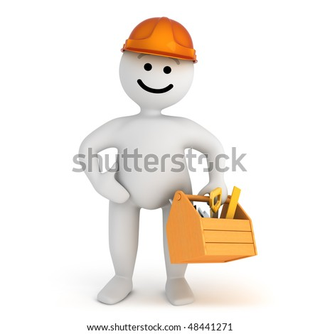 Funny smile character with tools