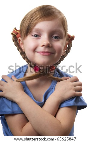 Funny smiling little girl portrait isolated over white background - stock photo
