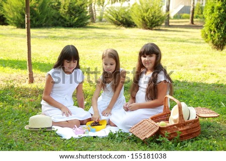 Funny smiling little girl sitting on the green grass and playing with toys/Adorable kids on a picnic
