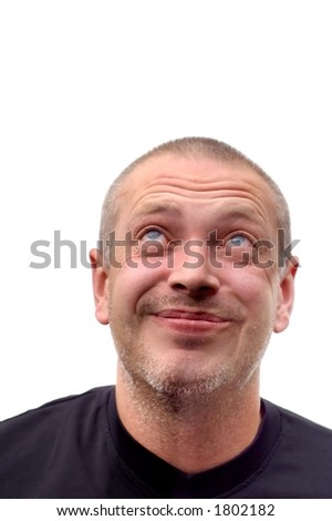 Funny smiling man is looking up - with space for text or slogan - stock photo