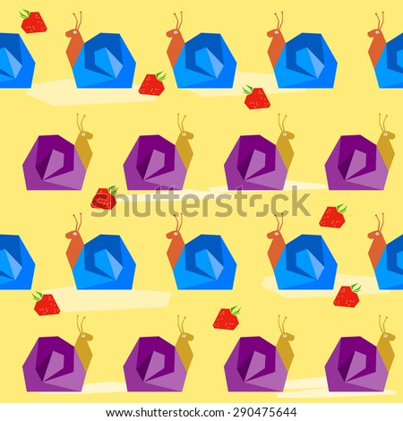 Funny snail and strawberry. Cartoon bright colored graphic abstract seamless pattern illustration for use in design. Raster copy - stock photo