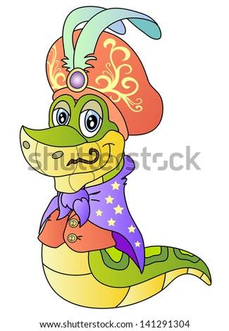 Funny snake.  Illusionist costume.  Raster version, vector file also included in the portfolio. - stock photo
