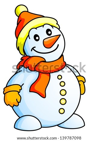 Funny Snowman. Christmas Theme. New Year Theme. Raster version, vector file also included in the portfolio. - stock photo