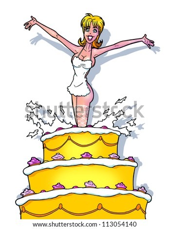 funny strip girl from cake - stock photo