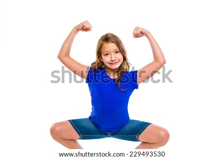 funny strong expression kid girl hands gesture squatting on white background - stock photo
