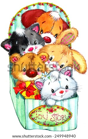 Funny teddy bear, kitten, puppy and bunny. kid background for holiday greetings . watercolor illustration - stock photo
