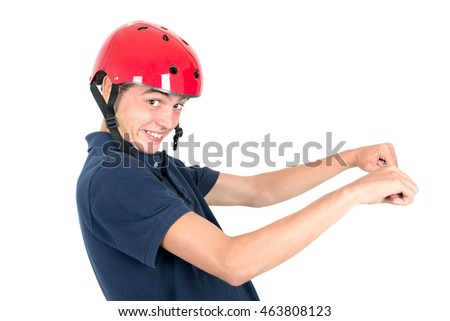 Funny teenage boy with pink helmet isolated in white