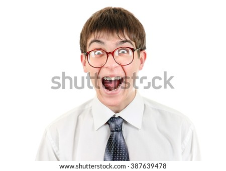 Funny Teenager Isolated on the White Background - stock photo