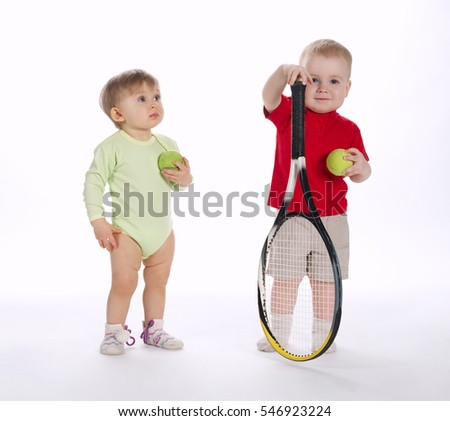 funny tennis player on white background