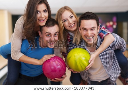 Funny time with friends at the bowling alley