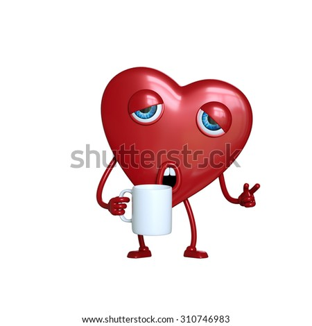 funny tired and sleepy heart cartoon character, 3d digital illustration isolated on white background