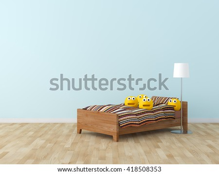 Funny toy in kids bed room Interior 3D rendering image