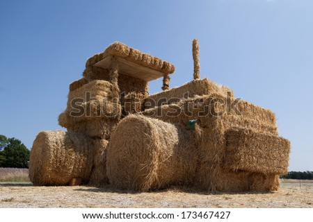 Funny tractor from straw