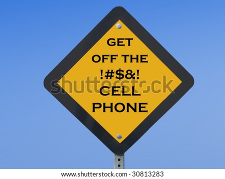 "Funny traffic sign asking drivers to ""get off their cell phones"" while driving"
