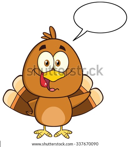 Funny Turkey Bird Cartoon Character Waving With Speech Bubble. Raster Illustration Isolated On White - stock photo
