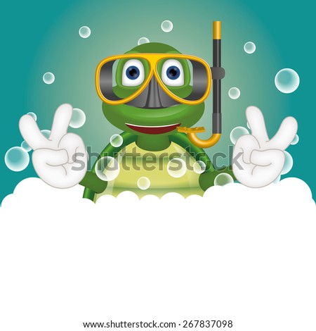 Funny turtle with diving mask in bathtub