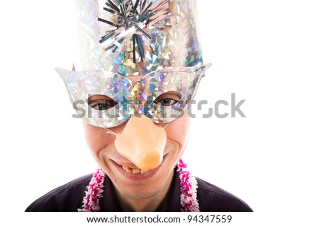 Funny ugly man wearing party mask smiling, isolated on white background.