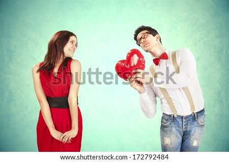 Funny Valentine's Day couple. - stock photo
