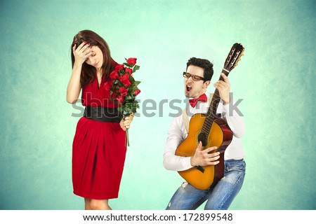 Funny Valentine's Day, series of different approaching acts - stock photo