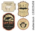 Funny vintage colored Halloween potion labels - stock photo