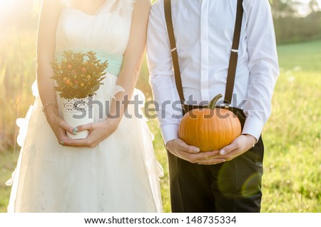 Funny wedding - stock photo