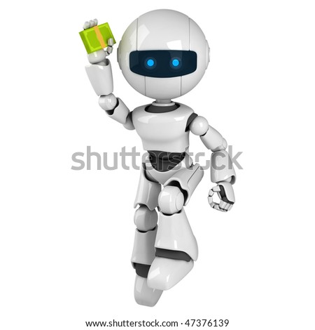 Funny white robot jump with money