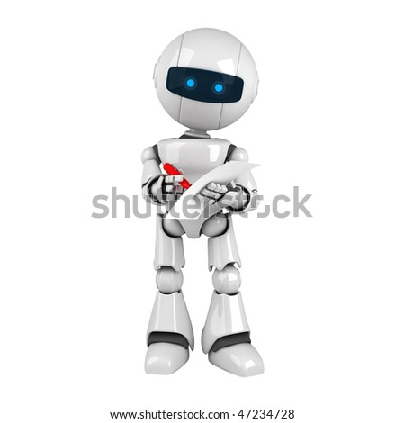 Funny white robot stay with pen and document