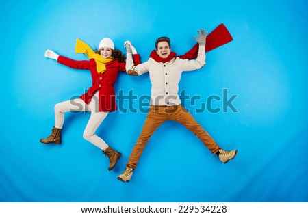 Funny winter couple - stock photo