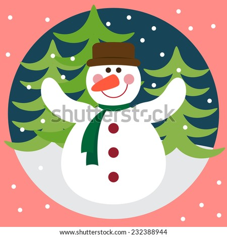 Funny winter holidays card background with snowman, fir and snowflakes - stock photo