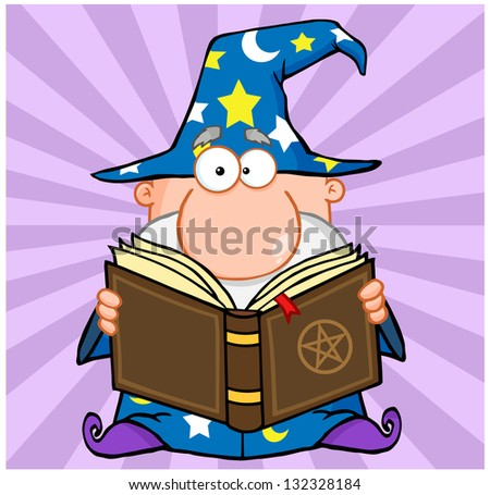 Funny Wizard Holding A Magic Book. Raster Illustration.Vector Version Also Available In Portfolio. - stock photo