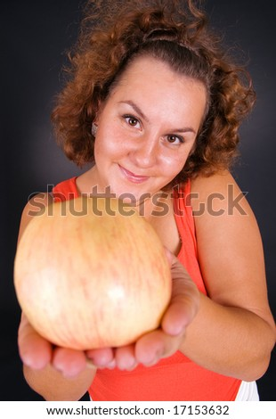 funny woman offering healthy life-style - stock photo