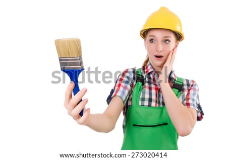Funny woman painter in construction concept isolated on white - stock photo