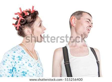 Funny woman screaming at her husband with big ear isolated