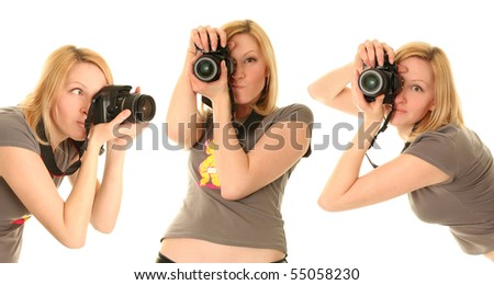 funny woman with camera on white