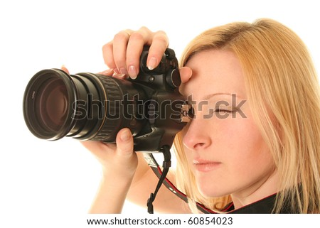 funny woman with camera on white - stock photo