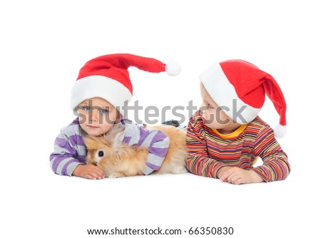 Funny 2 year old boys in the cap of Santa playing with the rabbit. In the studio
