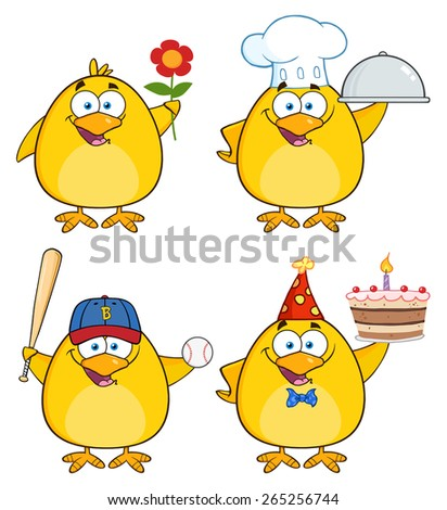 Funny Yellow Chick Cartoon Character Different Poses 2. Raster Collection Set Isolated On White - stock photo