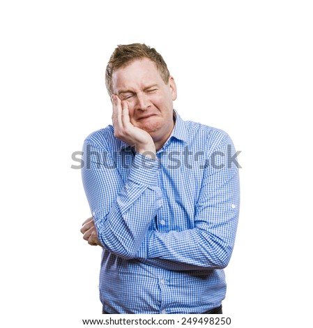 Funny young adult showing his emotions expressively by his gestures and mimics . Studio shot on white background. - stock photo