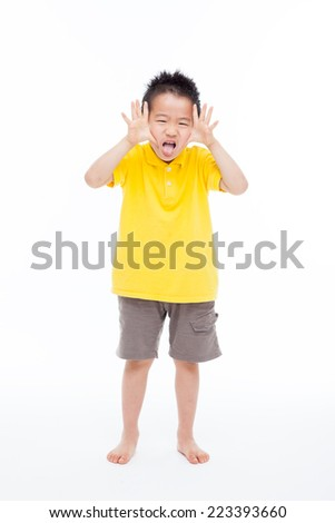 Funny young Asian boy full isolated on white background.