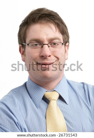 Funny young businessman isolated on white background - stock photo