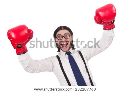 Funny young  businessman with boxing gloves isolated on white