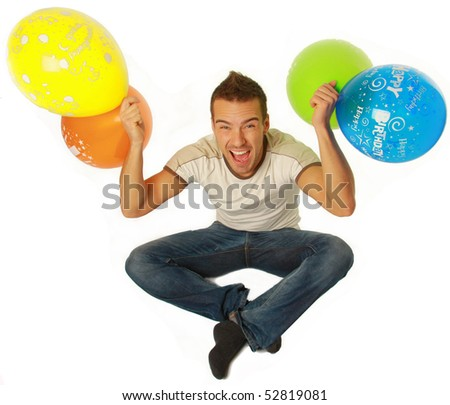 funny young guy with party balloons