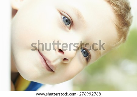 funny young happy boy. Outdoor face of child - stock photo