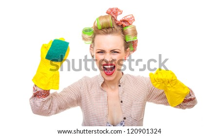Funny young housewife with gloves holding scrubber, isolated on white