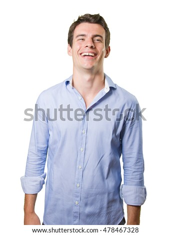 Funny young man posing on white background
