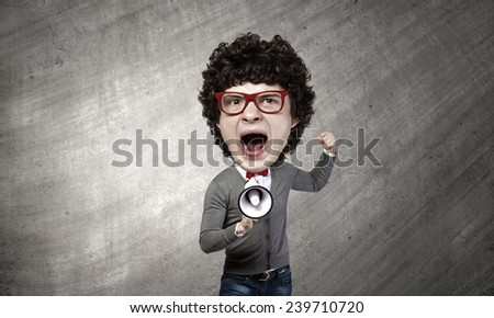 Funny young man with big head screaming emotional - stock photo